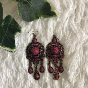 Jewelry - Pink/Gold Vintage Bead Earrings